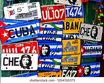 HAVANA, CUBA - FEBRUARY 27, 2018: Traditional handcrafted vehicle registration plates like souvenirs for sale in Havana, Cuba.
