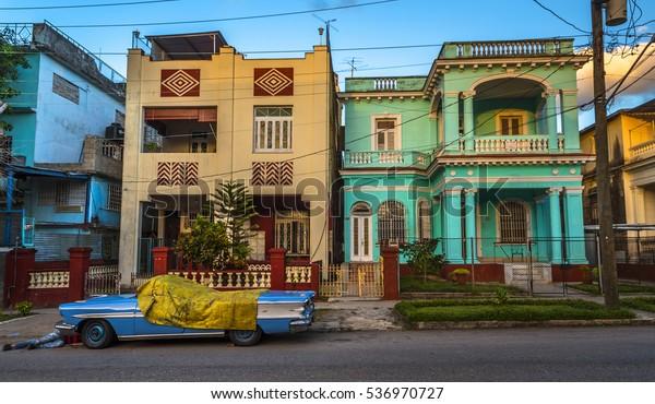 Havana Cuba Houses Suburban Street Sunny Stock Photo (Edit Now
