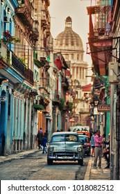 HAVANA, CUBA- JAN 30, 2018: typical vintage view of a street of