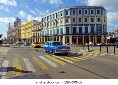 Havana, Cuba - Januar 14, 2018: American classic car drives on the main road in Havana Cuba City.