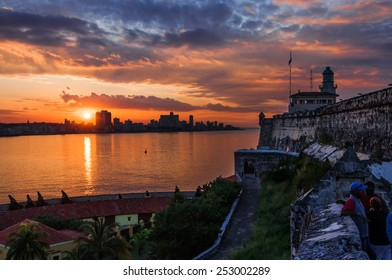 HAVANA, CUBA - JANUARY 1, 2014: Visitors at the Morro Castles, across the La Habana bay, Havana, Cuba. Old Havana is city-center and one of the 15 municipalities forming Havana, Cuba