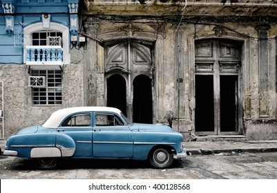 Havana, CUBA - JANUARY 12, 2016: Blue old classic American car on street of Havana. Cuba.