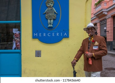 Havana, Cuba - january 15, 2016: A man embodying a recreational character for tourists circulating through the streets of the historic city center