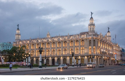 Havana, Cuba - january 16, 2016: Sunset view of Jose Marti Avenue and the great illuminated national theater, in the urban center of the city