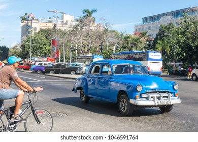 HAVANA, CUBA - JANUARY 16, 2017: Old car of the fifties circulating in the Old Havana. Before a new law issued on 2011, cubans could only trade vintage cars that were on the road before 1959.