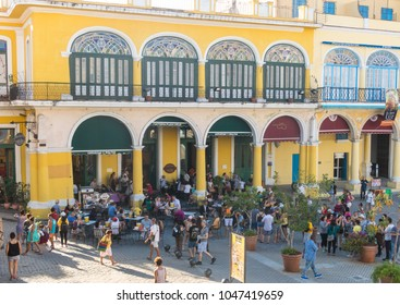 HAVANA, CUBA - JANUARY 16, 2017: The historic Old Square or Plaza Vieja in the colonial neighborhood of Old Havana. Spanish colonial architecture. Havana. Cuba