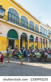 HAVANA, CUBA - JANUARY 16, 2017: The historic Old Square or Plaza Vieja in the colonial neighborhood of Old Havana