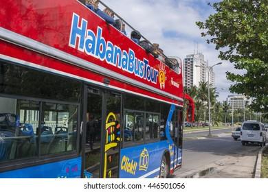 HAVANA, CUBA - JANUARY 20, 2016: Tourist bus at a stop of his tour of the city of Havana