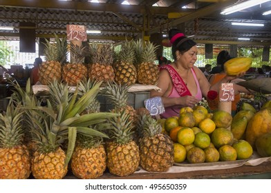 HAVANA, CUBA - JANUARY 20, 2016: Woman with a fruit stand in a farmers market