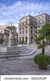 HAVANA, CUBA - JANUARY 20, 2016: Fountain and square of Saint Francis of Assisi, in the old town