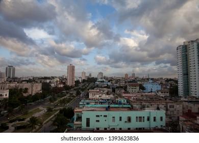 Havana, Cuba - January 2015: A view over the urban neighbourhood of Central Havana, Cuba.