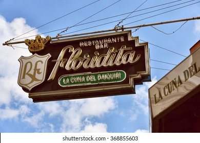 HAVANA, CUBA - JANUARY 2016: Sign of the famous Floridita Bar in Havana, where allegedly the Daiquiri was invented and Hemingway was a regular.