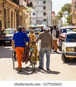 Havana Cuba. january 2018. A typical view of street sellers in Havana in Cuba