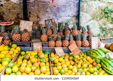Havana, Cuba. January 2018. A view of fruit being sold in a local market in Central havana in Cuba