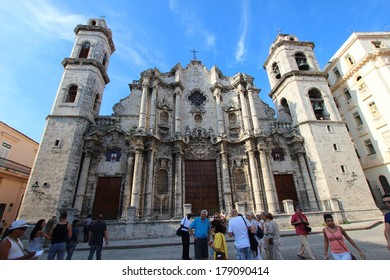 HAVANA, CUBA - JANUARY 21: San Cristobal Cathedral on 21 January, 2014, Havana, Cuba. Roman catholic religion is very strong all over Cuba, in spite of the strong communist effects.