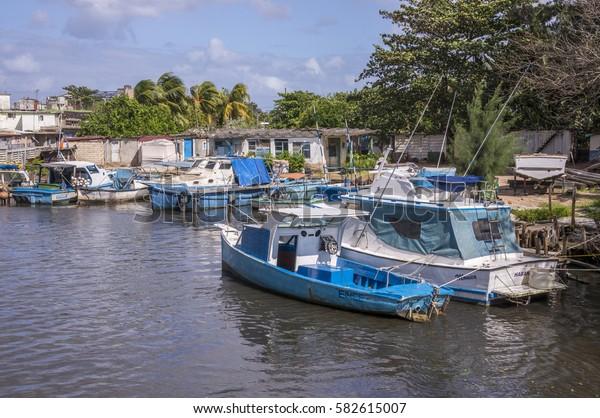 HAVANA, CUBA - JANUARY 23, 2016: Boats, in the sport fishing port, in the river Jaimanitas