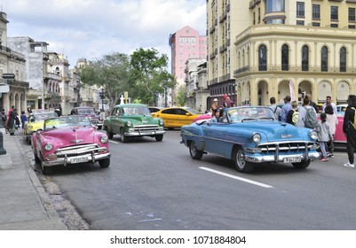 HAVANA, CUBA - January 4, 2018: Vintage classic cars on the street.