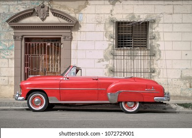 HAVANA, CUBA - January 4, 2018: Vintage classic car parked on the street.