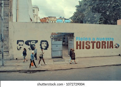 HAVANA, CUBA - January 4, 2018: Banner Cuban propaganda on the street.