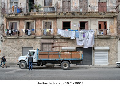 HAVANA, CUBA - January 4, 2018: Street scene in the center of the Cuban capital.