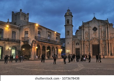 HAVANA, CUBA - January 4, 2018: Historic architecture on the Plaza de la Catedral at evening.