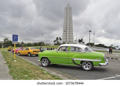 HAVANA, CUBA - January 4, 2018: Vintage classic cars parked on the Revolution Square.
