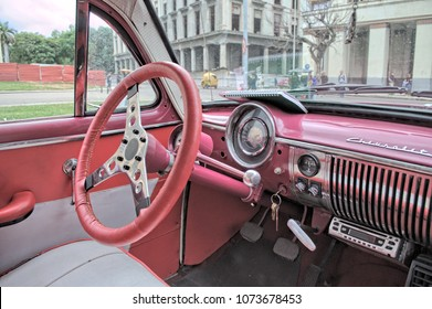 HAVANA, CUBA - January 4, 2018: Modified interior of an old Chevrolet car which is still used for decades - now as a vehicle for tourists.