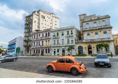 Havana, Cuba - Jul 2, 2016: Historical buildings in the city center