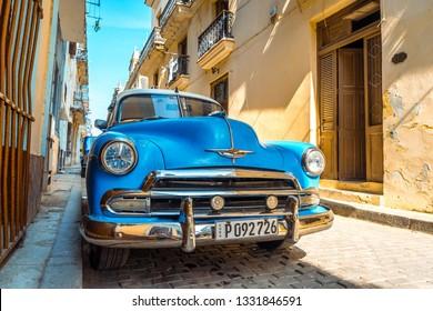 Havana, Cuba - Jul 2, 2016: Classic car parked on the street