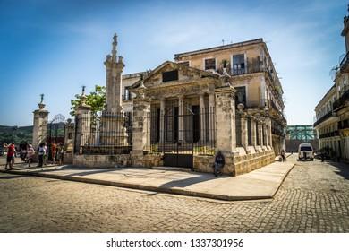 Havana, Cuba - Jul 2, 2016: Historical building in the city center