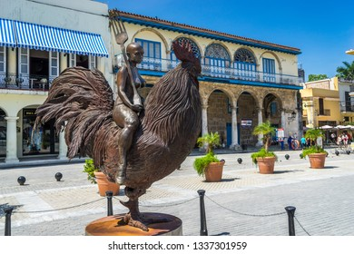 Havana, Cuba - Jul 2, 2016: Lady Riding the Chicken Statue in the Old Square