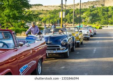 Havana, Cuba - Jul 6, 2016: Taxis parked along the street