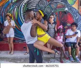 HAVANA, CUBA - JULY 18 : Rumba dancers in Havana Cuba on July 18 2016. Rumba is a secular genre of Cuban music involving dance, percussion, and song. It originated in the northern regions of Cuba