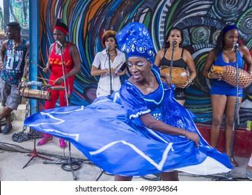 HAVANA, CUBA - JULY 18 : Rumba dancer in Havana Cuba on July 18 2016. Rumba is a secular genre of Cuban music involving dance, percussion, and song. It originated in the northern regions of Cuba