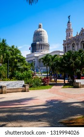 Havana, Cuba - July 19, 2018 : View of the Havana's Capitol being repaired with the garden in the foreground