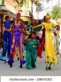 HAVANA, CUBA - JULY 20 : A unidentified group of participants in the annual carnival party on July 20 ,2011 in Havana, Cuba.Carnival in Cuba lasts 10 days in mid july