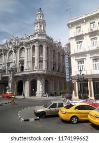 Havana, Cuba, july 2018: Facade of Great Theater in front of Inglaterra Hotel