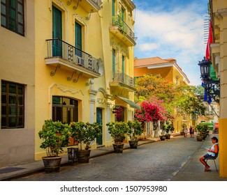 Havana, Cuba, July 2019, view of a woman sitting and reading in the Calle Mercaderes a paved street full of plants in pots and blooming trees