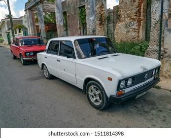 Havana / Cuba - July 23, 2019 Cars near to Port of Cojimar, Havana, Cuba