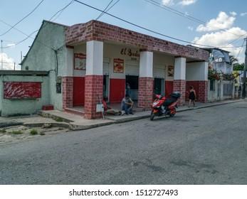 Havana / Cuba - July 23, 2019 Street and houses next to Port of Cojimar, Havana, Cuba