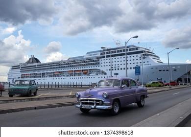 Havana, Cuba - July 30, 2017: Cruise ship docked in the Havana, Cuba harbor.