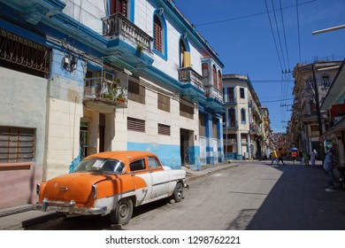 Havana, Cuba - July 31, 2018: Very old american car parked in Havana in Cuba