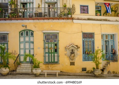 HAVANA, CUBA - JUNE 19, 2016: A plaque and bust identify the home of Cirilo Villaverde, a famous author and freedom fighter of the Cuban movement of independence against the Spanish colonial power.