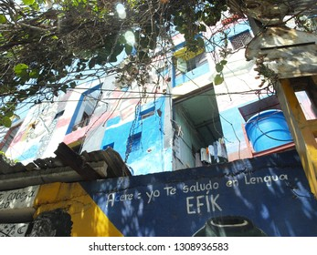 "Havana, Cuba - June 21, 2018: ""Callejón de Hamel"" or Alley Hamel the epicenter of the Afro-Cuban culture in Havana, where you can se graffiti, art and dance."