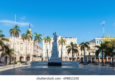 Havana, Cuba - June 27, 2017: Attraction Jose Marti Sculpture in the historical center La Habana Vieja in Havana City Cuba - Serie Cuba Reportage