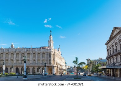 Havana, Cuba - June 27, 2017: Architecture view with the gran teatro in the backview from the main street paseo de Marti in Havana City Cuba  - Serie Cuba Reportage