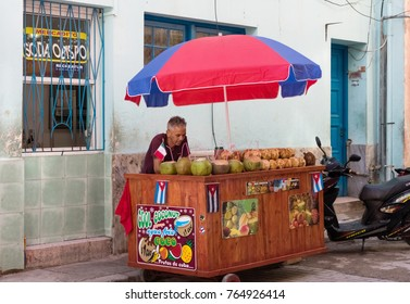 Havana, Cuba - June 27, 2017: Cuban hawker with his stand in a side street in Havana City Cuba - Serie Cuba Reportage