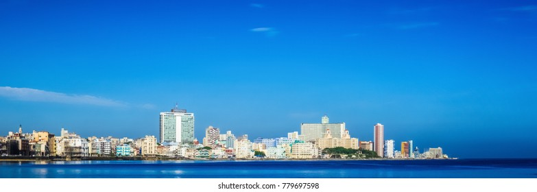 Havana, Cuba - June 27, 2017: HDR - Skyline view at the morning from the famous promenade el Malecon in Havana City Cuba - Serie Cuba Reportage