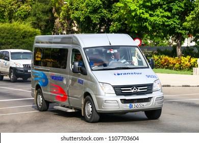 Havana, Cuba - June 6, 2017: Passenger van LDV Maxus in the city street.
