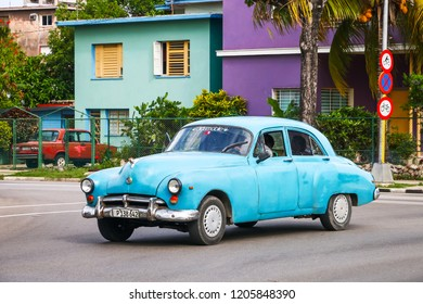 Havana, Cuba - June 6, 2017: Blue retro motor car Oldsmobile 76 Futuramic in the city street.